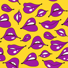 Lips seamless pattern in retro color style. Trendy fabric backdrop, textile background. Vector Illustration