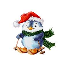 xmas skiing penguin