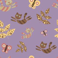 Сказочная детская бесшовная иллюстрация с листьями, бабочками, кошками