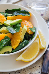 Asian style healthy spinach, avocado and orange salad with ginger-vinegar dressing, vertical