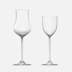 Two transparent realistic empty glasses goblets
