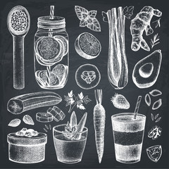 Vector collection of hand drawn vegetarian food and drinks ingredients. Detox diet products sketch set. Vintage healthy eating illustration on chalkboard