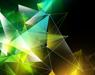 abstract geometrical faceted background, yellow green glowing tr