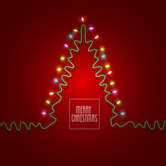 Christmas tree formed garland lights on red background