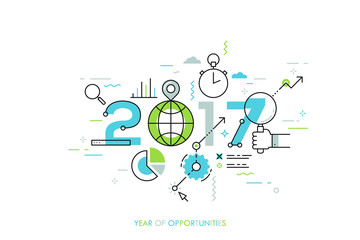 Infographic concept 2017 year of opportunities Fotomurales