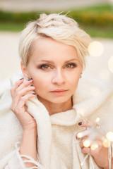 beautiful woman portrait, blur, light