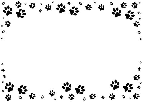 Paw prints. Animal tracks border. Steps animal drawn for the design of backdrops.