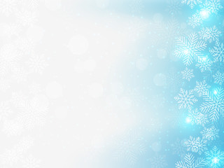 Christmas background with blue and white snowflakes in various styles. Abstract Vector Illustration.