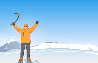 Man with Raised Hands on a Background of Mountains. Expedition Banner. Modern Design Vector Illustration