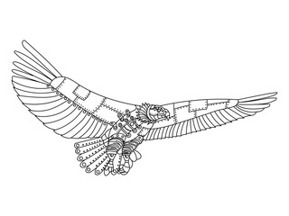 Steampunk style eagle coloring book vector