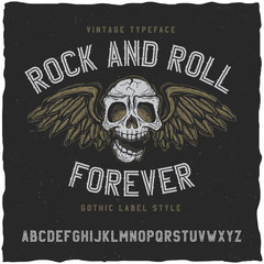 Rock and roll label font. Good to use in any vintage label design.