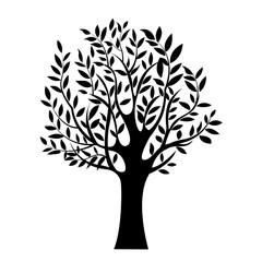illustration of black tree, isolated nature symbol, silhouette