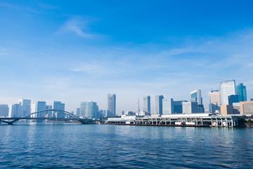 Tsukiji fish market, Tokyo tower, Tsukiji ohashi(bridge name) and Sumida river.