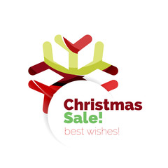 Christmas sale, vector greeting card or banner