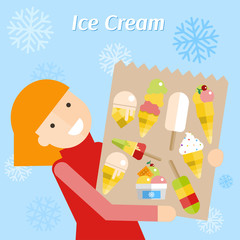 Girl in a red dress with package of ice cream. Vector flat illustration.