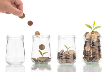 woman hand put coins in bottle with plant, Business investment g