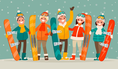 Winter active leisure . A group of people with snowboards and sk