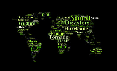 Natural disasters word cloud in the shape of the Earth,  background