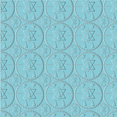 Seamless pattern with mystical symbols. Silver coins on a blue background. Sacred signs.