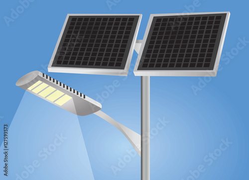 """Street light with solar panels vector """" Stock image and royalty-free ..."""
