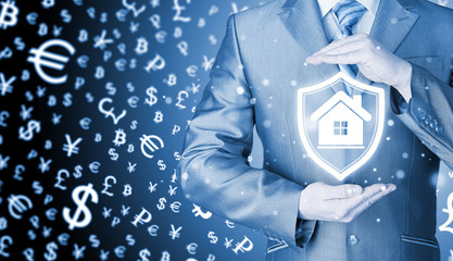 House protection and insurance. Home shield. Real estate safety. Money background. World currency.