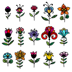 Set of colorful hand drawn doodle fantasy flowers with black outline isolated on white background. Vector illustration.