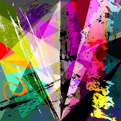 abstract geometric background, with paint strokes, splashes