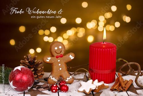 frohe weihnachten mit lebkuchen und kerze stock photo. Black Bedroom Furniture Sets. Home Design Ideas
