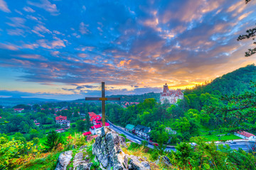 Wall Mural - Beautiful panoramic view over Dracula Bran medieval castle in the sunset light, the most visited tourist attraction of  Brasov, Bran town, Transylvania regiom,Romania,Europe
