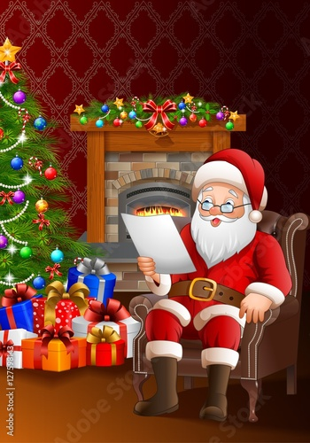 Santa claus reading a list of gifts in the living room Photoshop santa in your living room free