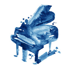 Blue watercolor sketch grand piano on a white background