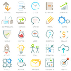 Set of 25 modern bussiness icons. Vector.