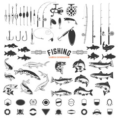 set of Fishing labels design elements. Rods and  fish icons. Design elements for logo, label, emblem, sign, badge. Vector illustration.