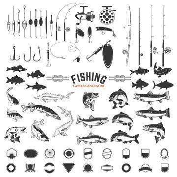 set of Fishing labels design elements. Rods and  fish icons. Design elements for logo, label, emblem, sign, badge. Vector illustration.