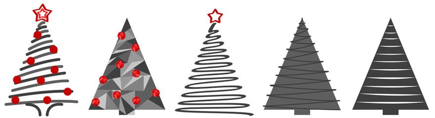 Tannenbäume in Grau mit Weihnachtsdekoration Abstrakte Grafik