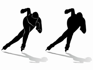 silhouette of a speed skater. vector drawing