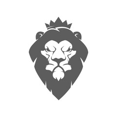 lion head with crown. Design element for logo, label, emblem, sign, brand mark. Vector illustration.