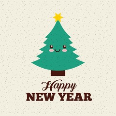 happy new year card with cute kawaii christmas tree icon. colorful design. vector illustration