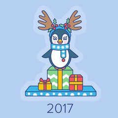 Christmas card with a penguin and gifts 2017