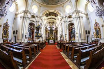 interior of pilgrimage church, Maria Dreieichen, Lower Austria,