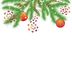 fir branch and red Christmas balls