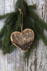 Christmas decoration, hart, and conifer of fir tree on textured