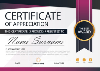 Purple Elegance horizontal certificate with Vector illustration