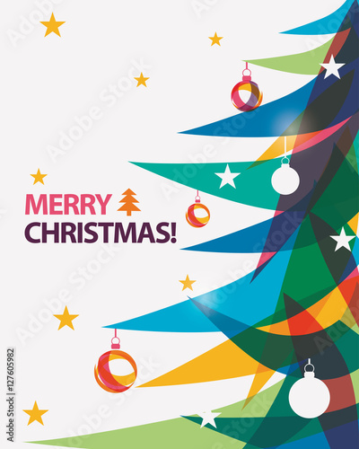 Merry Christmas Card Vector Illustration In Modern Vibrant Styl