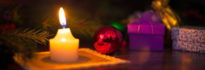 Christmas decoration with Christmas balls and candles