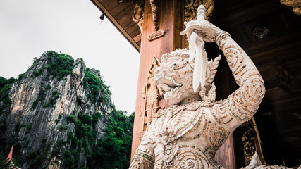 Hanuman (Monkey) Statue  and thai art architecture in Khaoyoi Cave Temple in KhaoYoi,Phetchaburi,Thailand