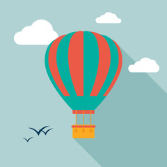Hot air balloon icon icon with long shadow. Flat design style. Hot air balloon silhouette. Simple icon. Modern flat icon in stylish colors. Web site page and mobile app design element.