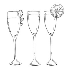 hand drawn set of graphic cocktails cocktail  on white backgroun