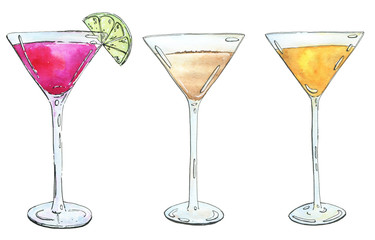 hand drawn set of watercolor cocktails Alexander Between the She