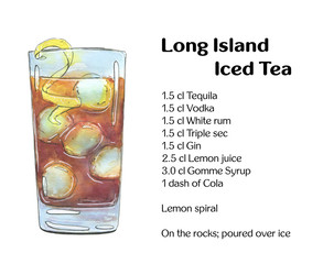 hand drawn watercolor cocktail Long Island Iced Tea on white bac